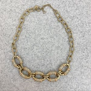 J. Crew Peach Enamel and Crystal Link Necklace